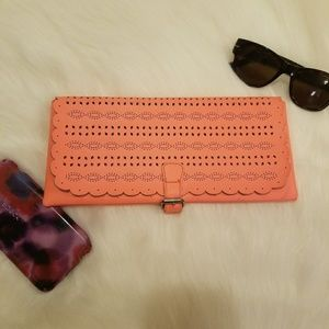 American Eagle Outfitters Orange Laser Cut Clutch
